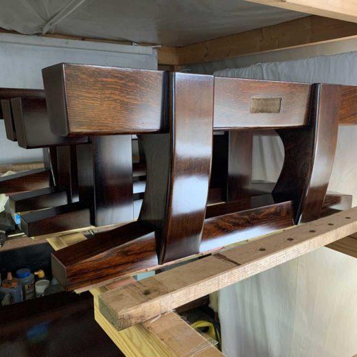 座卓の拭漆工程