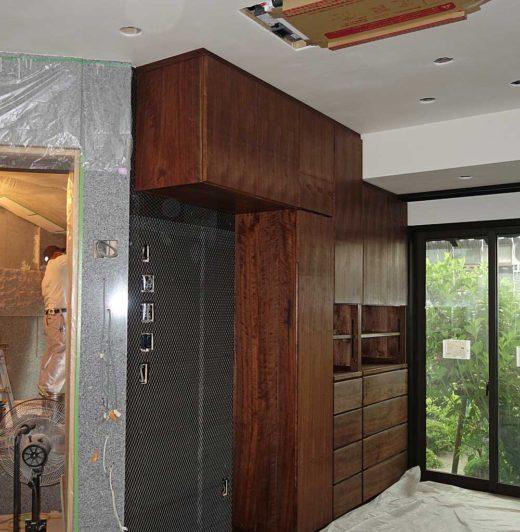 ブラックウォールナットの壁面収納家具