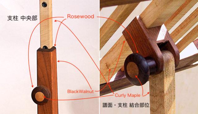 3つの樹種を用い モダンに。角度可変ハンドルなども木製