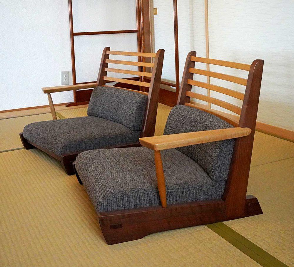 ブラックウォールナットの座椅子
